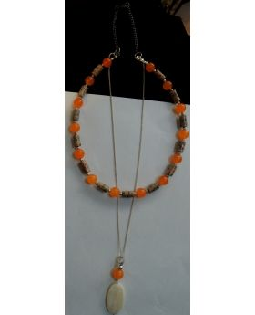 Lilibit Creation Necklace - Touch of Orange – silver string chain – one of a kind