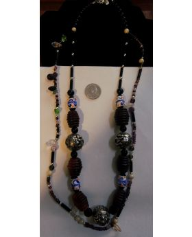 Lilibit Creation Necklace Double String, Beads of Natural Ethical Horn with Large Metal Beads