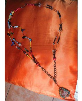 Lilibit Creation Necklace - Rare Combination, Irregular d\Design, Multi-Strands' Wood – Glass-Natural Stones – Sea Stone Pendant