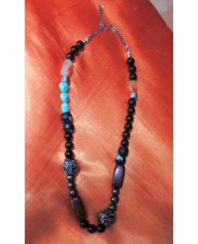 Lilibit Creation Necklace  - Rare Combination of Wood and Natural Stones in Black, Brown with Turquoise Accents