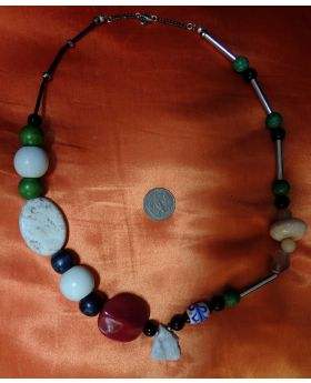 Lilibit Creation Necklace  - Rare Combination of Metal, Natural Stones and Wood