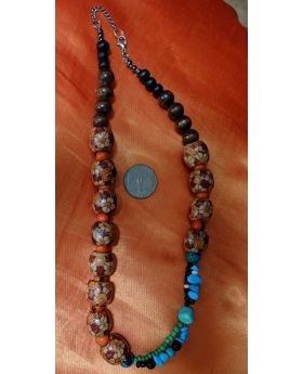 Lilibit Creation Necklace - Combination of Colored and Decorated Wood Beads, Enhanced by Double String of Colored Bead Pieces