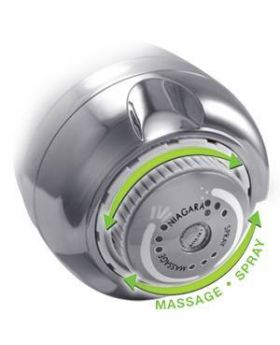 Earth Massage 1.25 GPM Showerhead showing spray options
