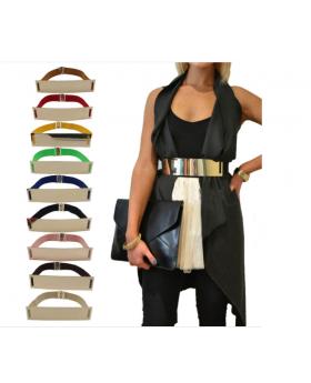 Elastic Mirror Metal Waist Belt with clothing
