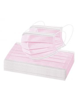 Face Masks, 3 Ply Pack of 50 (Pink)