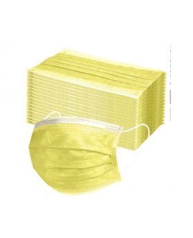 Face Masks, 3 Ply Pack of 50 (Yellow)