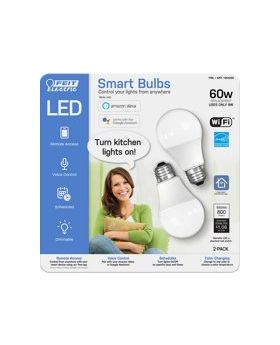 Feit Electric Smart WI-FI LED 60W Light Bulbs 2 Pack White
