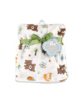 Cribmates Forest Friends Print Plush Baby Blanket