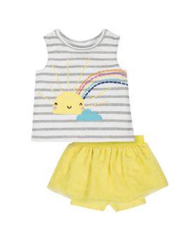 Gerber Baby Girl Tank Top And Bike Shorts Set, 2 Piece Sun Shine