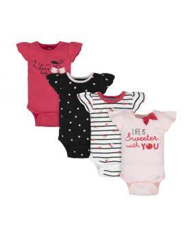 Gerber Baby-Girls 4-Pack Short Sleeve Onesies Bodysuits Sweeter