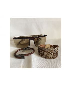 Gift Set Gold Reflective Sunglasses with Leather Bracelets