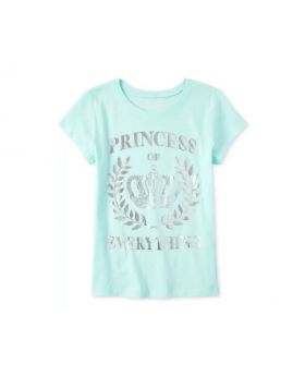 Girls Foil Princess of Everything Graphic T-Shirt in Crystalmnt Size M
