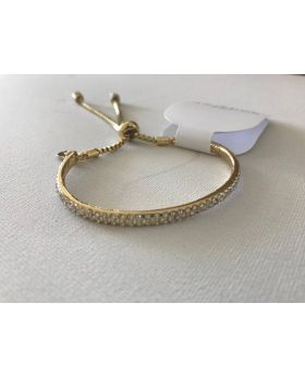 Gold Plated Pull Chain Pave Glitter Accent Bangle Bracelet