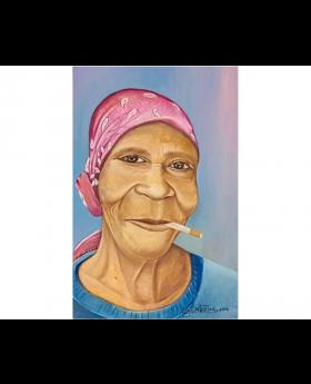 Grandma Smoking Oil Canvas Painting