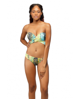 Front view of the Green & Yellow Trickini Bathing Suit