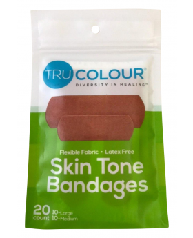 Tru Colour Skin Tone Adhesive Bandages 20 Pack - Green Pack - Olive Complexion