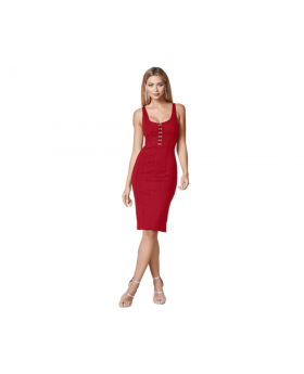 Hook Detail Bodycon Dress 24 Front View