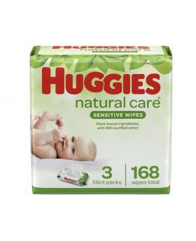 Huggies Natural Care, Fragrance Free Baby, 56 Count, 3 Pack, 168 Wipes