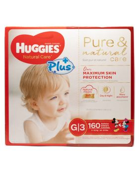 Huggies Natural Care Plus Diapers Size G3 160 Pack