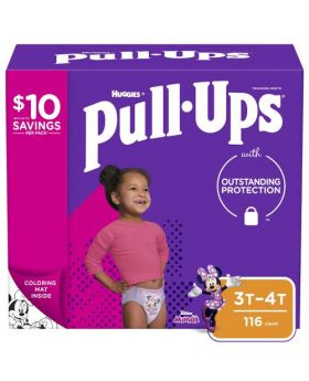 Huggies Pull Ups Training Pants Learning Design Diapers for Girls 3T-4T 116 Count