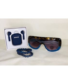 Blue Gift Bundle- Inpods T12 Wireless Earpods, Stone Beads and Sunglasses