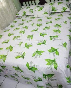 Aleos 5 Piece King Size White & Green Sheet Set