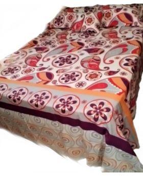 Aleos 5 Piece Queen Size Purple Printed Sheet Set