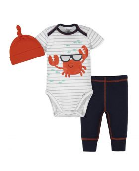 Gerber 3-Piece Baby Boys Crab Bodysuit, Pants & Cap Set