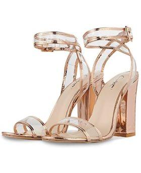 Jsun7 Women's Shiny Chunky Heels Gold Size 41