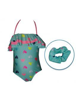 Kids Land 3 Tier Cross Back Swimwear W/ Hair Accessory
