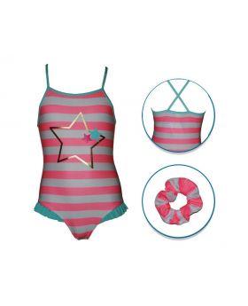 Kids Land Stripe Cross Back Swimwear With Hair Accessory