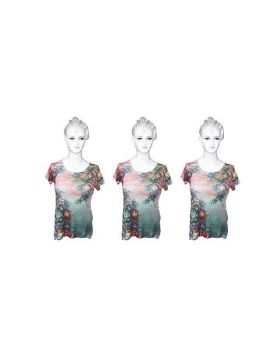 Ladies Pink and Green Sublimation Top