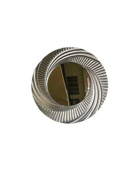 Large Round Brushed Silver Wall Mirror