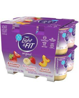 Dannon Light & Fit Strawberry/Strawberry Banana/Peach Nonfat Yogurt, 12pk/4oz