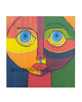 "Lilibit Creation Art Print – Boy with Big Blue Eyes, Abstract Art 8""x8"" Canvas Wrapped"