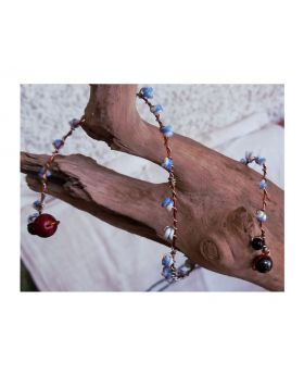 Lilibit Creation Bracelet: Copper Wire Multi-wrap, Threaded with Blue Beads