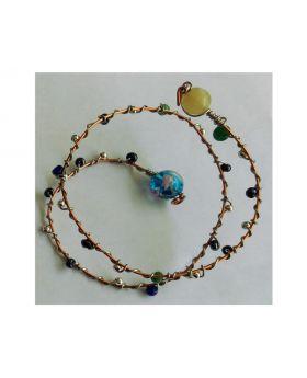 Lilibit Creation Bracelet - Copper Wire Multi-wrap, Threaded with Mini Beads