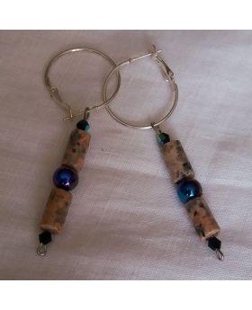 Lilibit Creation Earrings – Drop Earrings in Blue Glass and Stone