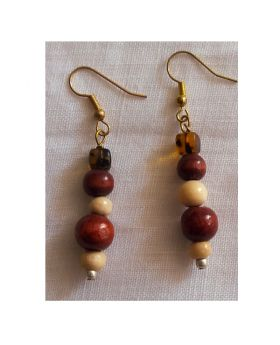 Lilibit Creation Earrings –Drop Earrings in Brown Wood Beads