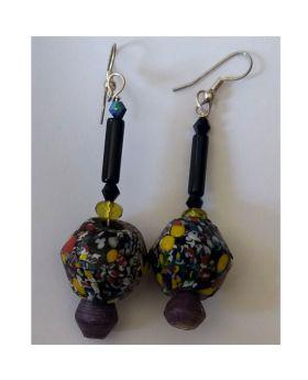 Lilibit Creation Earrings – Drop Earrings in Multi-coloured African Bead