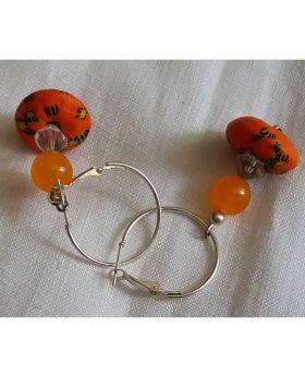 Lilibit Creation Earrings – Drop Earrings in Orange – African Beads