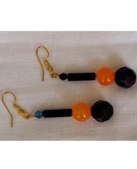 Lilibit Creation Earrings – Drop Earrings in Orange Stone and Black Glass
