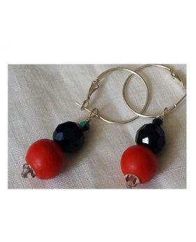 Lilibit Creation Earrings – Drop Earrings in Red and Black