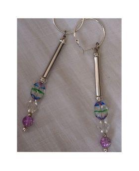 Lilibit Creation Earrings – Drop Earrings in Silver and Multi-Glass Beads