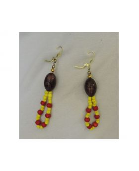 Lilibit Creation Earrings – Drop Earrings in Yellow and Red Mini Beads With large Brown