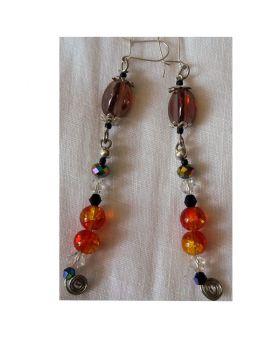 Lilibit Creation Earrings – Long Drop Earrings in Burnt Orange and Glass