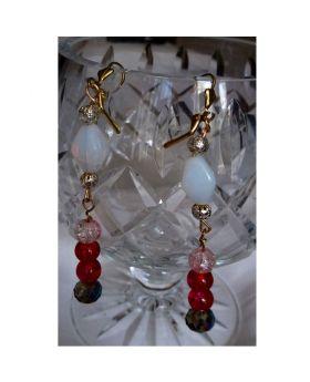 Lilibit Creation Earrings – Long Drop Earrings in Red Tone with White