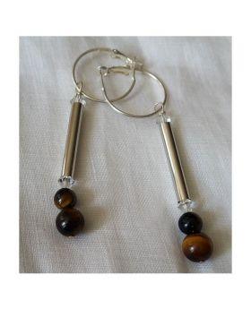 Lilibit Creation Earrings – Long Drop Earrings in Silver and Brown