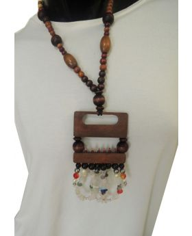 Lilibit Creation Necklace Bohemian Design Wood Pendant Decorated with Glass Beads and Stone Chips, One of a kind