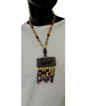 Lilibit Creation Necklace Bohemian Design Wood Pendant with Bead Mix – One of a kind